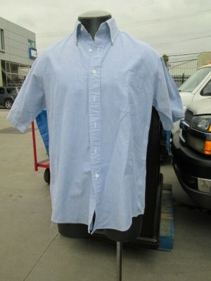 L.L. Bean Dress Shirt, Button Down Shirts, Short Sleeve Blue 100% Cotton
