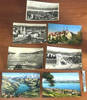 Lot 10 Vtg Switzerland Belgium Helsinborg Sweden Black White Color Postcards