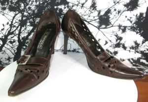 Via Spiga Womens Pointed Toe Buckle Pump Brown Heels Size 7 M