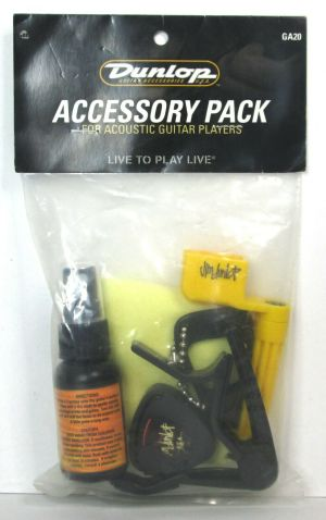Dunlop GA20 Accessory Pack for Acoustic Guitar .60mm Picks Capo Polish Cleaner