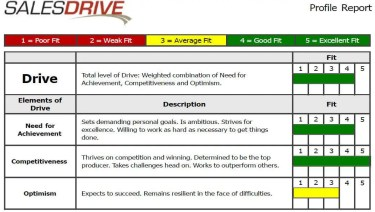 SalesDrive DriveTest Sales Assessment Sample Report