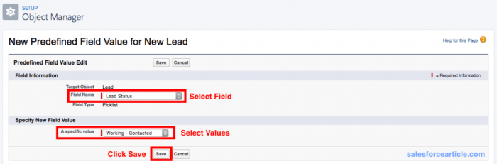 New Predefined Field Values