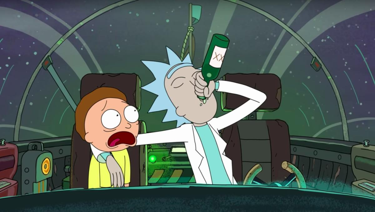 Rick Sanchez drunk flying a spaceship