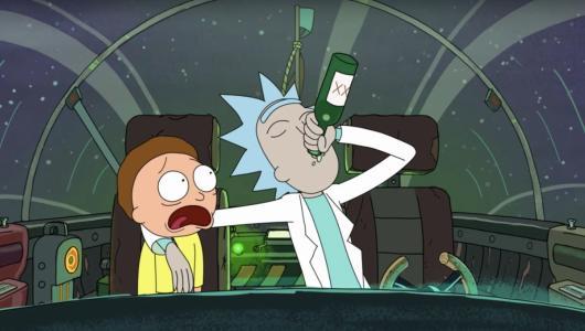 Rick Sanchez drunk flying a spaceship