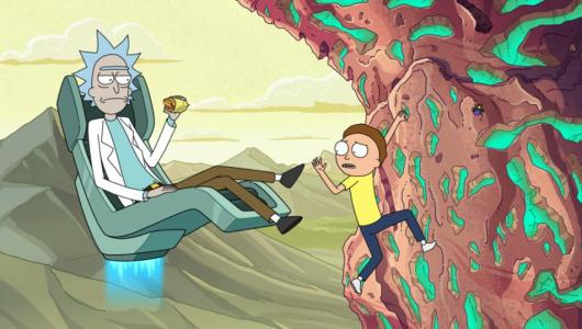 Rick and Morty on mountain in heist episode