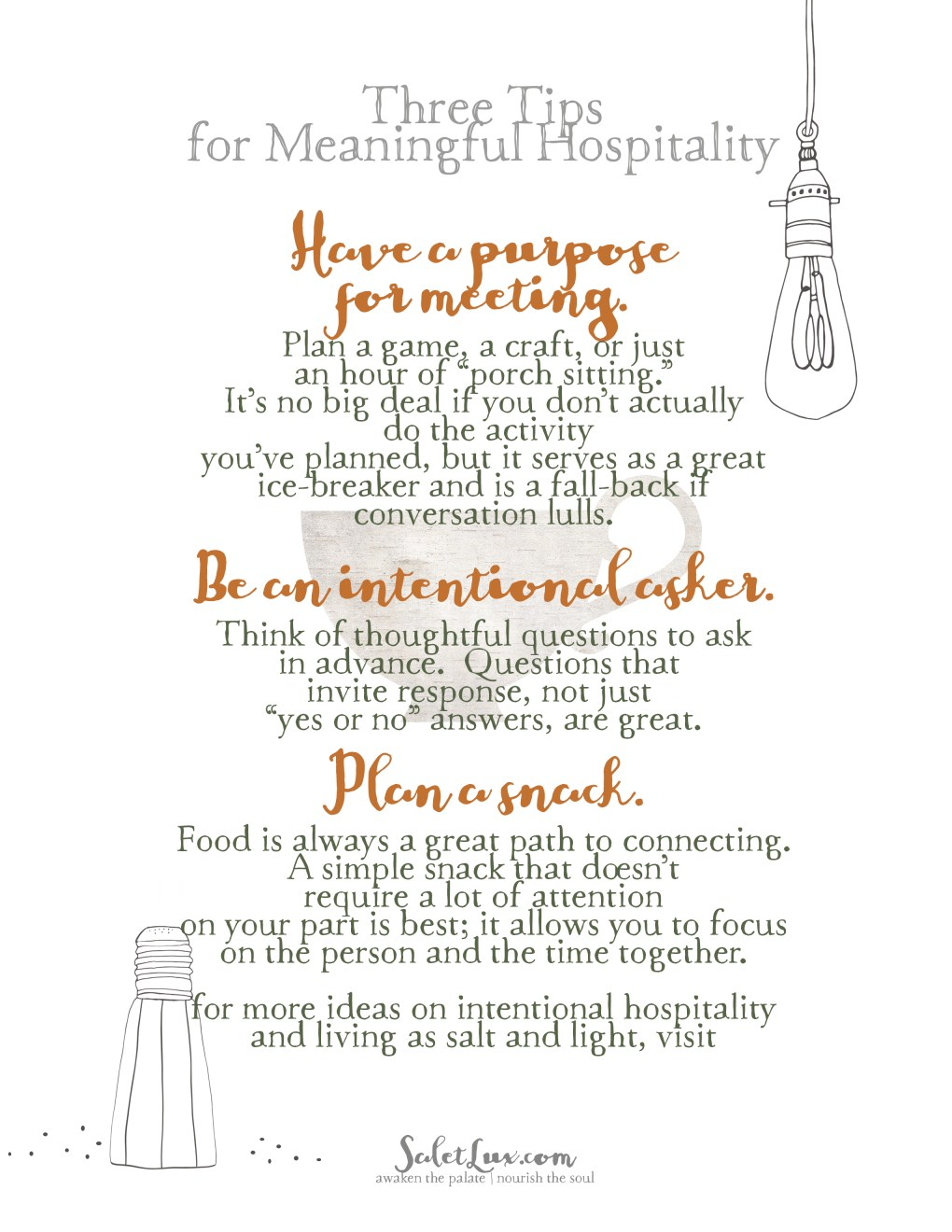 tips for meaningful hospitality - free printables