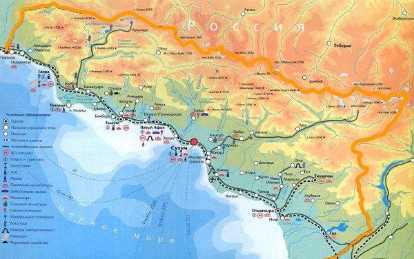 Карты Пицунды Абхазия Подробная карта Пицунды на
