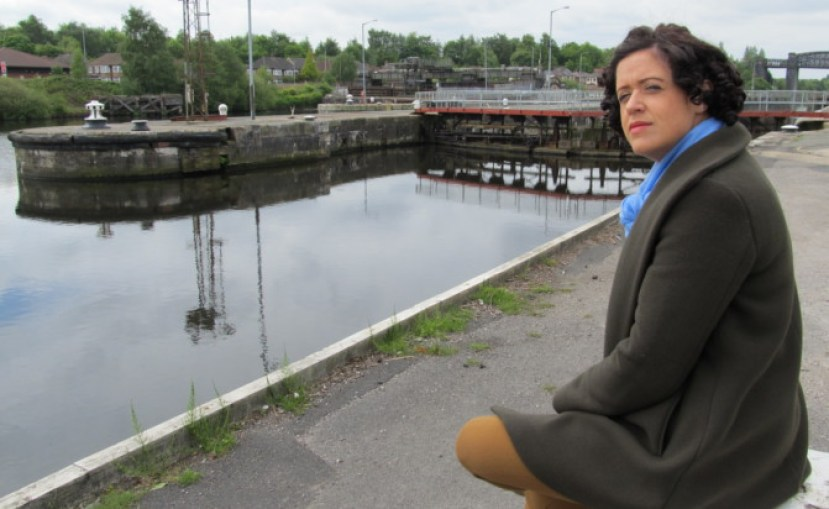 Liz McIvor at Latchford on the banks of the Manchester Ship Canal