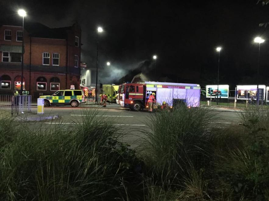 Fire crews use water jets to douse the flames in Walkden fire - By Al Williams