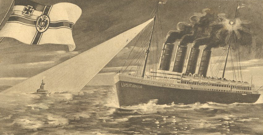 German postcard of the U-Boat sinking of RMS Lusitania - which sparked riots in the UK