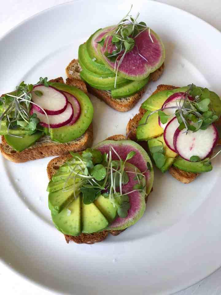 Avocado Toast with Watermelon Radish and Micro-greens