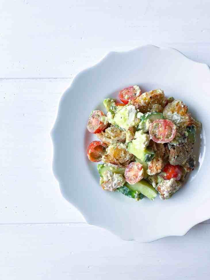 Vegan Panzanella Salad with Creamy Green Dressing