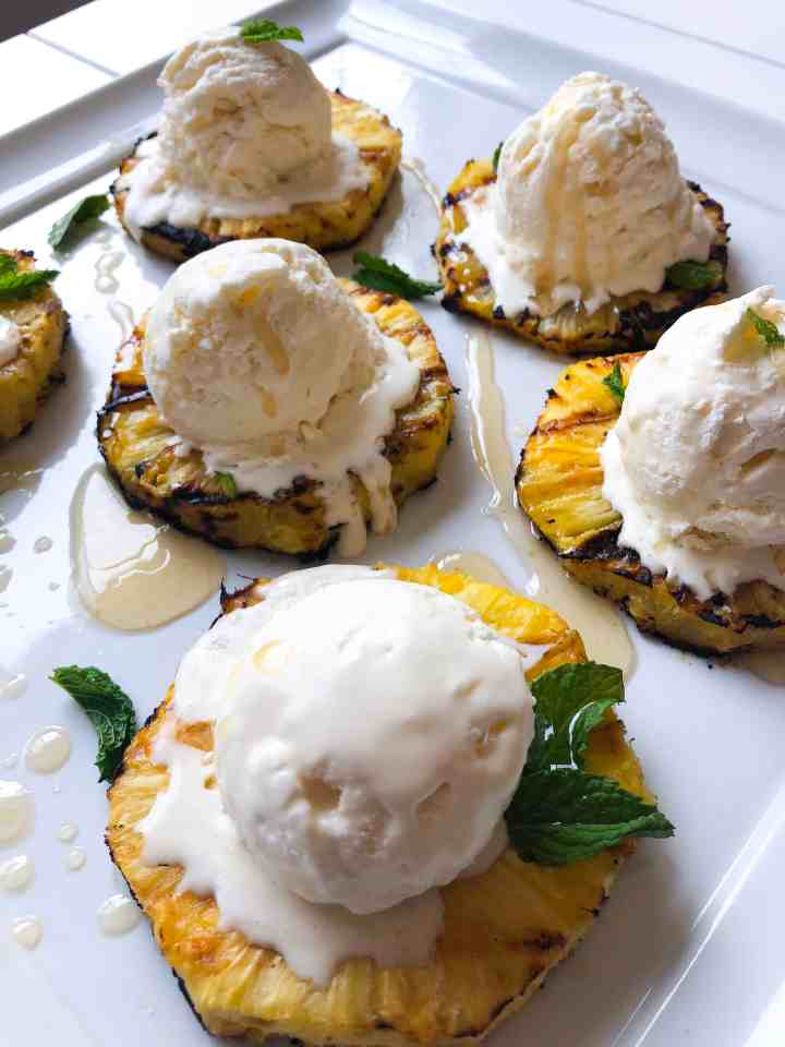 Coconut Ice Cream with Grilled Pineapple and Honey Brown Butter