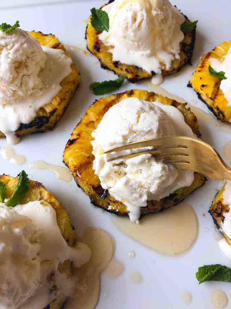 Coconut Ice Cream with Grilled Pineapple and Honey Brown Butter - Contact
