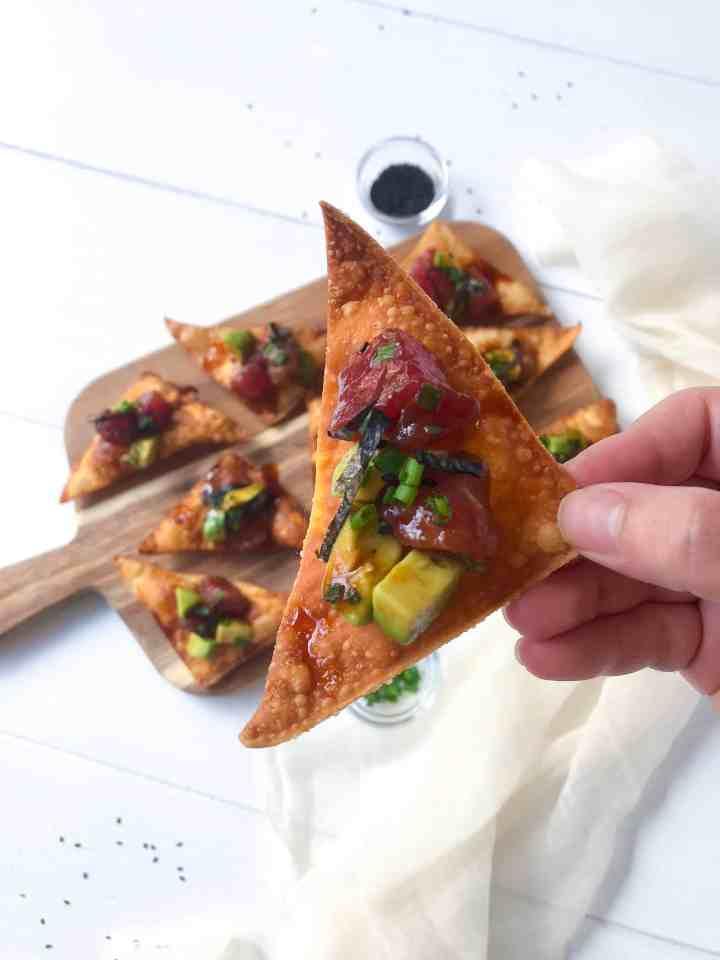 Avocado Tuna Poke Tapas with Crispy Fried Wonton Chips