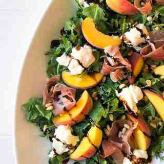 Peach Prosciutto Arugula Salad with Pine Nuts and Burrata Cheese