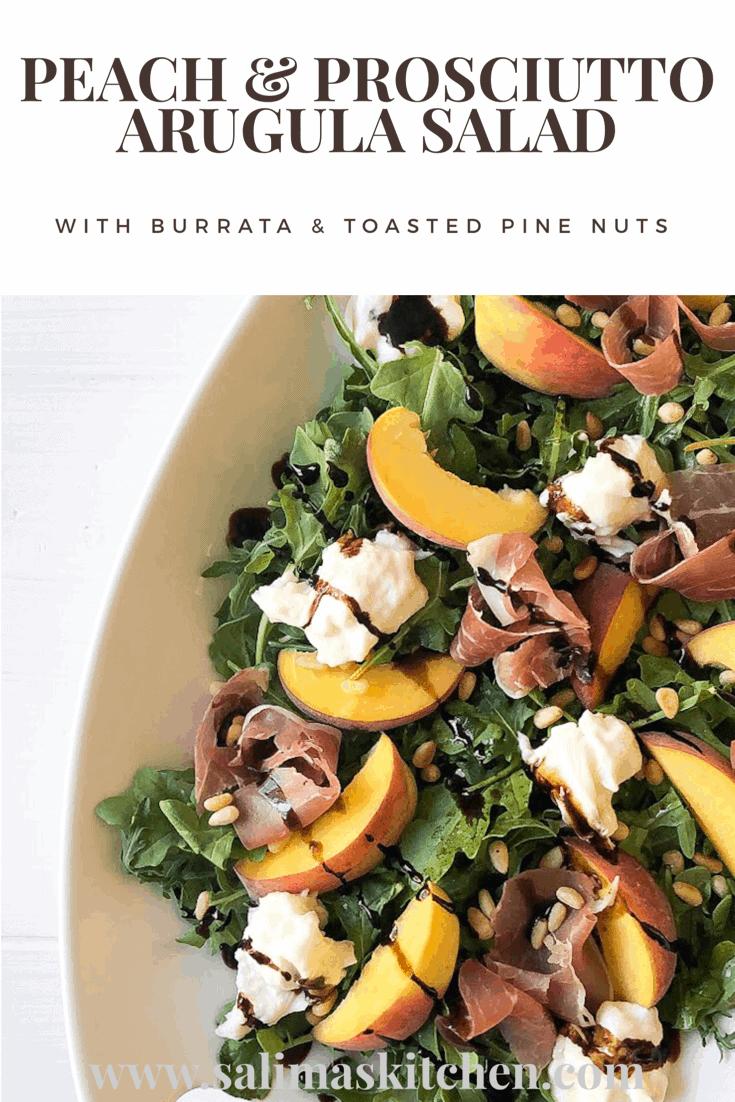 Peach Prosciutto Arugula Salad with Pine Nuts and Burrata Cheese