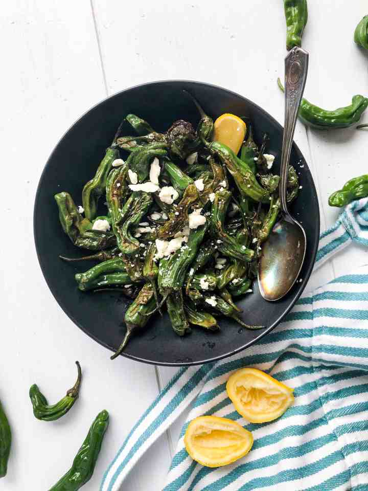 Blistered Shishito Peppers with Lemon and Feta