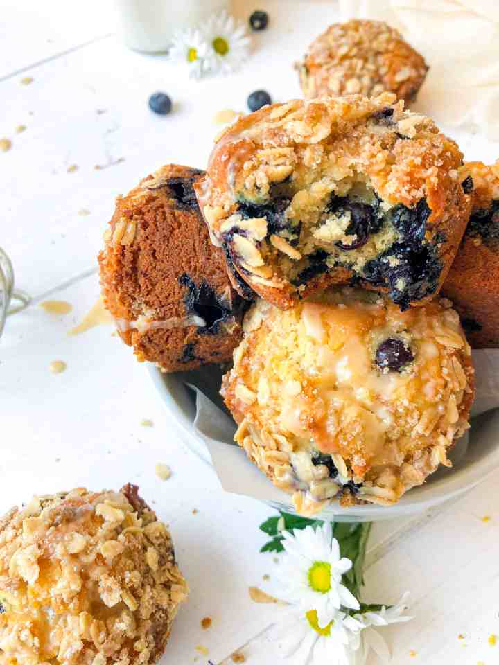 Vegan Oatmeal Blueberry Muffins
