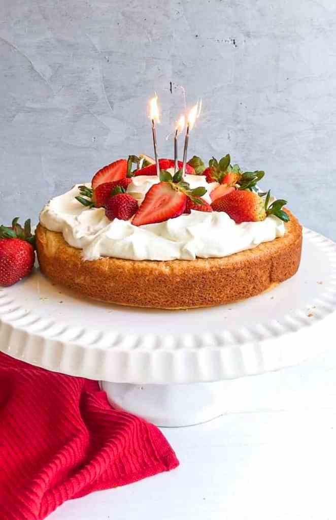 Strawberry cake for a Portland food photographer portfolio.
