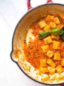 Pan of gluten free gnocchi.