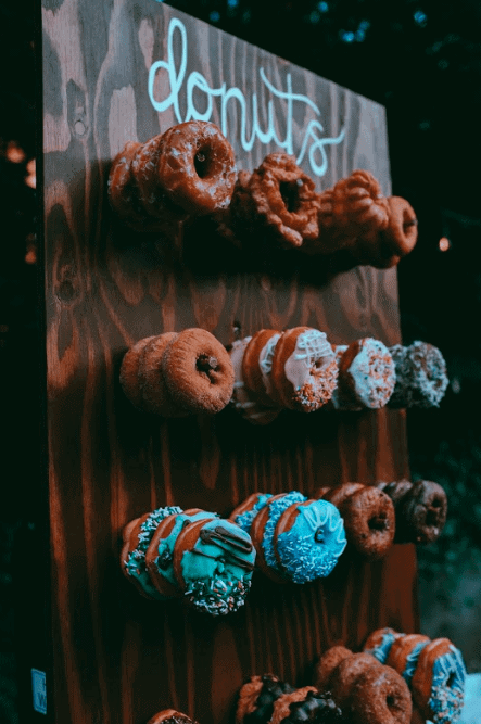 The donut wall at our backyard wedding.