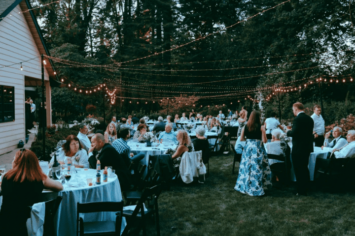 Guests and dinner at our backyard wedding.
