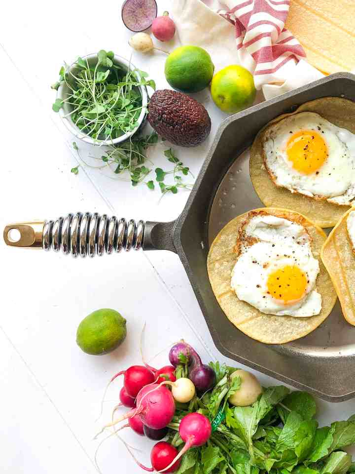 A trio of vegetarian breakfast tacos in a Finex pan.