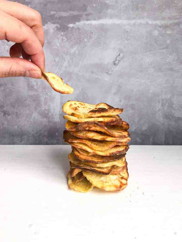 A stack of AIP Sweet Potato Chips.