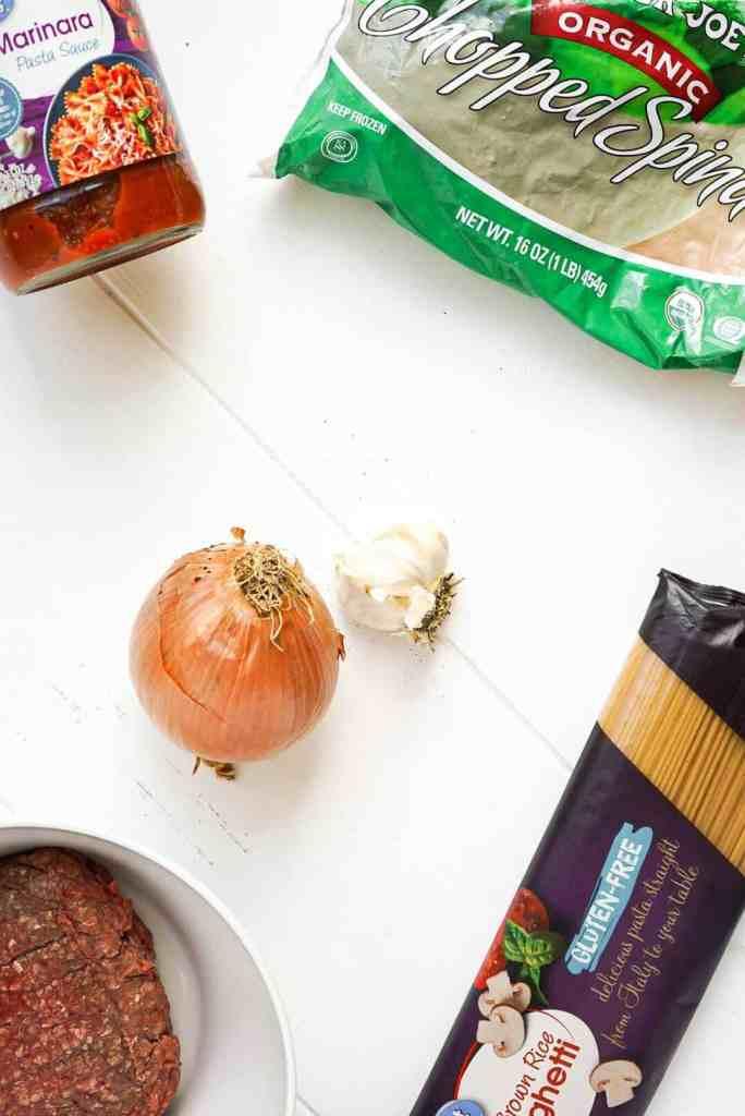 Ingredients to make Quarantine Friendly Weeknight Spaghetti.