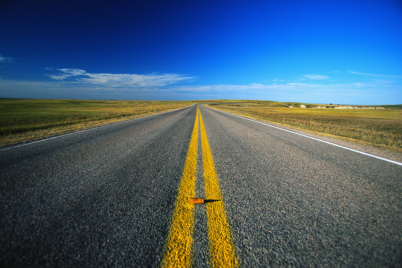 Yellow Highway Lines Blue Sky