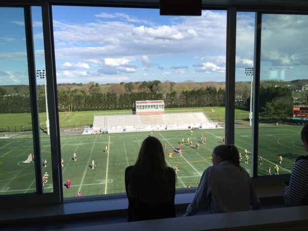 Students take in the view on the top floor of Sea Gull Stadium during the open house Thursday.