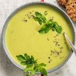 pea and edamame soup