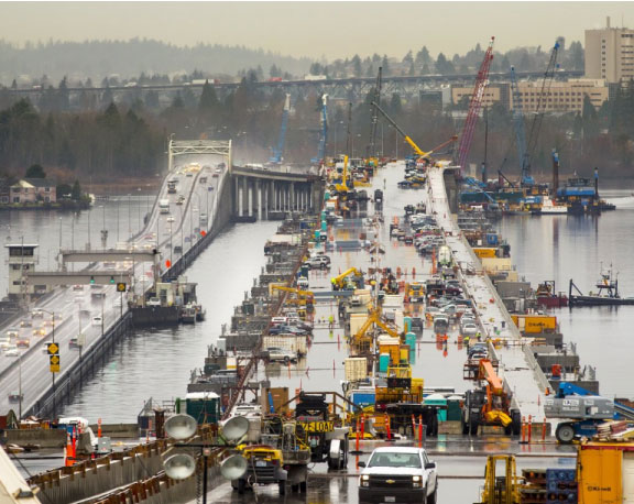 SR 520 Bridge construction