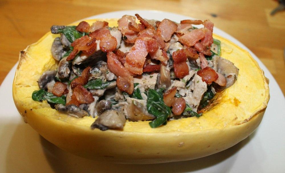 Chicken Bacon and Mushroom Alfredo With Spaghetti Squash (1/3)