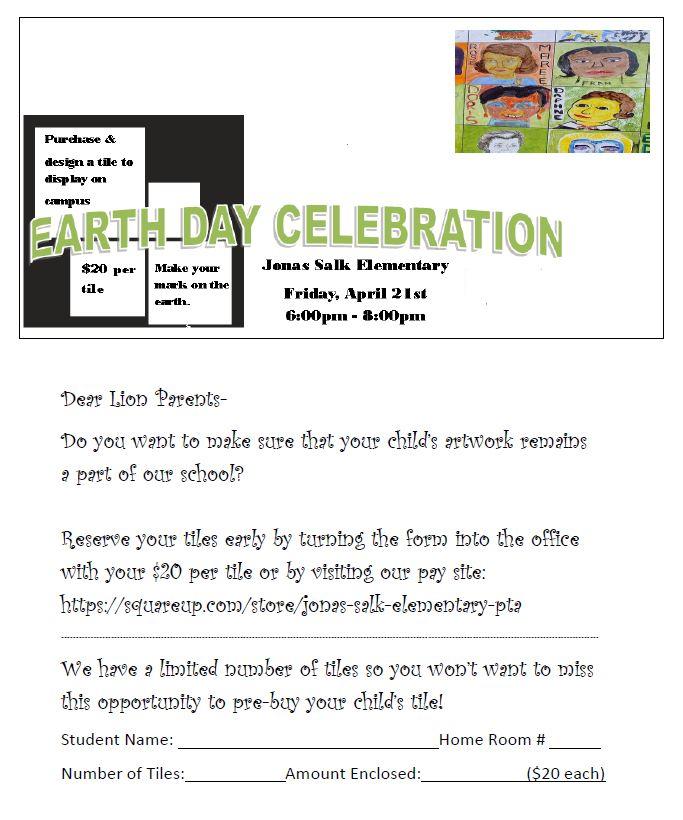 2017.04.21 - Earth Day Tile Fundraiser flyer