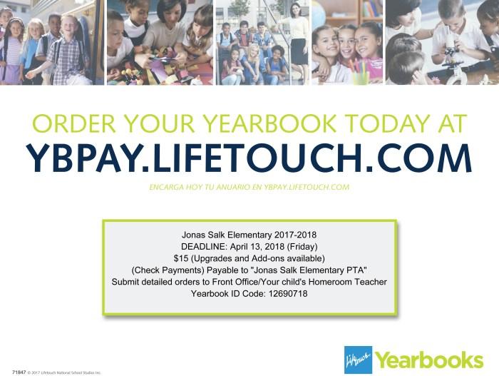 2017_18 - Jonas Salk ES - Lifetouch Yearbook Order flyer1