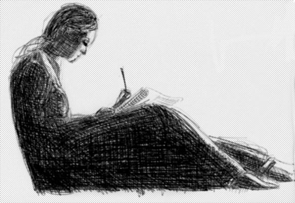 black-and-white self-portrait of the artist