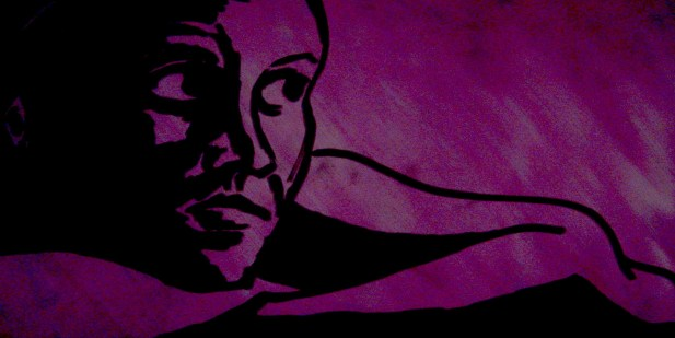 self-portrait of the artist in black ink on a pink background