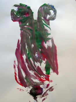 black, red, and green abstract painting
