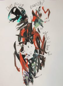 abstract painting of two women in black and red
