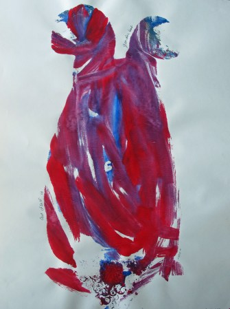 red, blue, and purple abstract painting