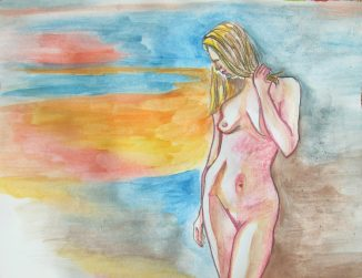 drawing of a nude woman on a blue and orange background