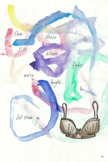 illustration of a bra and multi-colored abstract lines on a white background