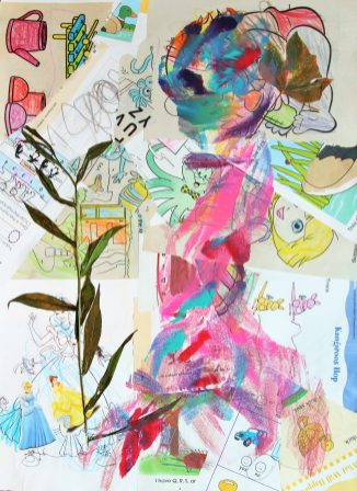 abstract painting of flowers and a woman on coloring pages