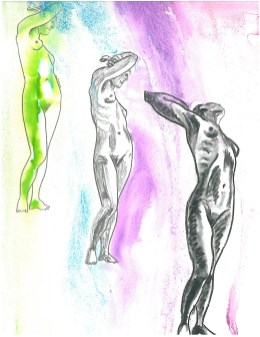 drawings of three nude women, one in green and two in black-and-white