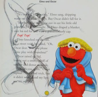 black-and-white drawing of a nude woman next to an image of Elmo