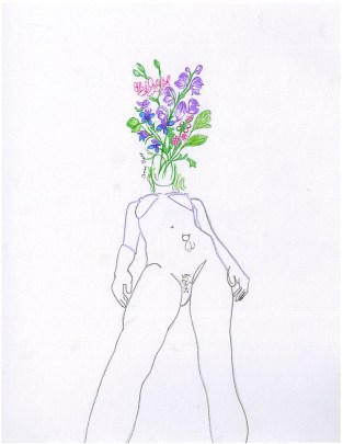 outline of nude woman with flowers sprouting from her mouth
