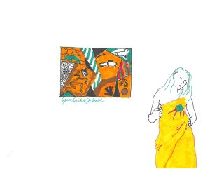 drawing of a woman wearing a yellow robe