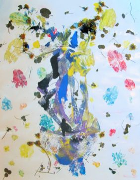 abstract painting of dandelions
